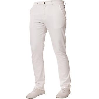 Mens Tapered Fit witte Stretch Jeans | Enzo Designer Menswear