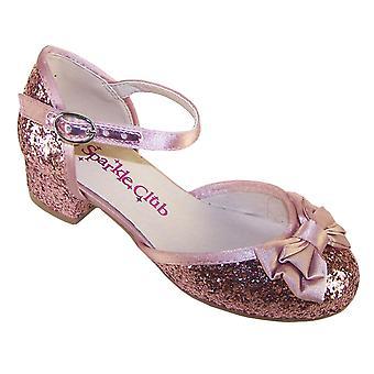 البنات معتم الوردي أحذية منخفضة الكعب الطرف بريق