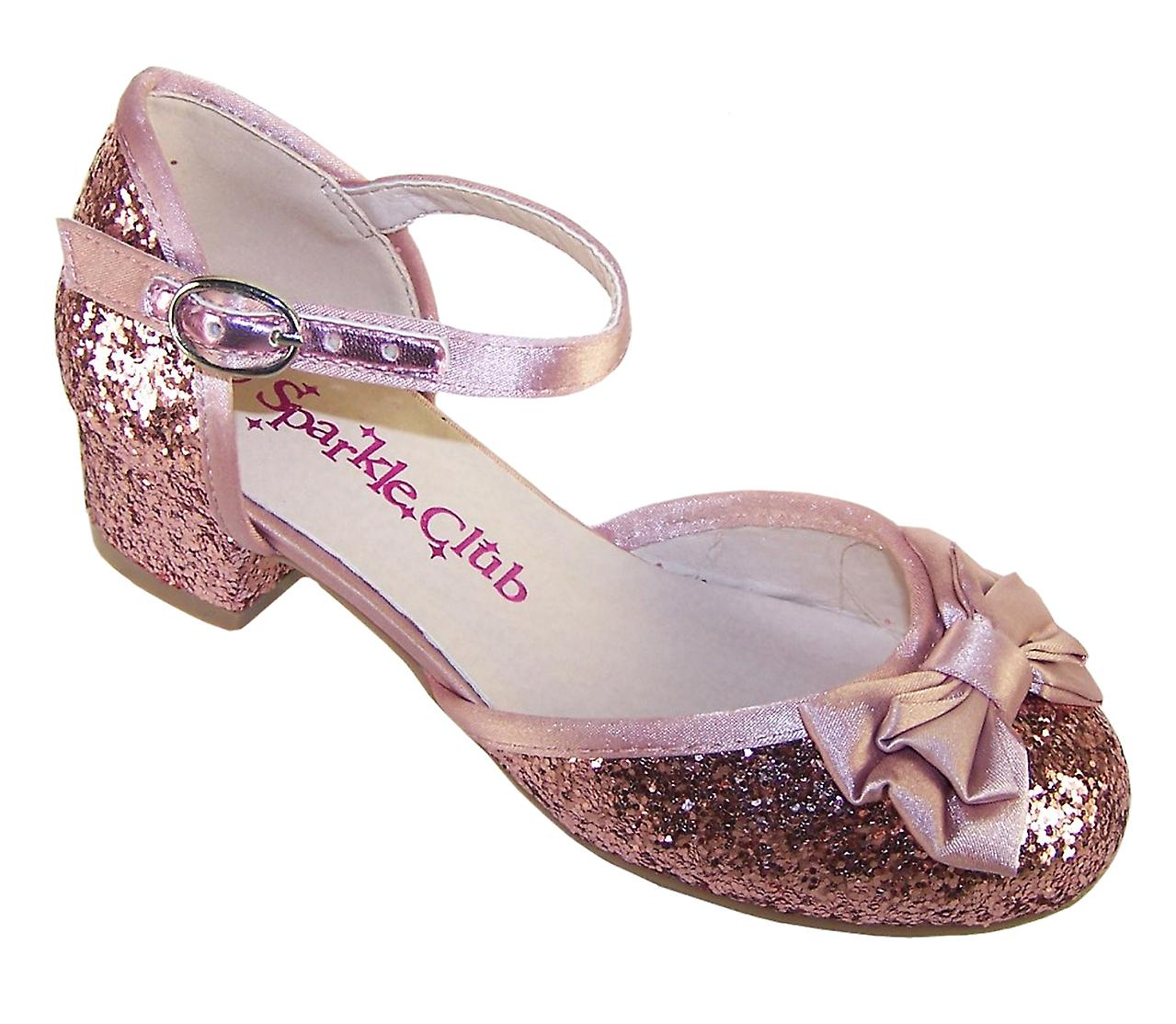Girls dusky party pink glitter low heeled party dusky shoes fa5131