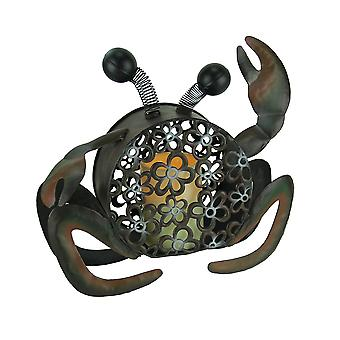 Floral Cutout Metal Beachcomber Crab with LED Candle