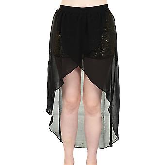 Ladies Chiffon Gold Sequin Shorts Women's High and Low Maxi Fishtail Skirt