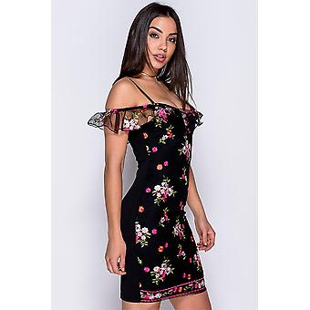 Floral Embroidered Cold Shoulder Bodycon Dress