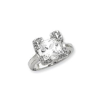 Sterlingsølv polert åpne tilbake kubikk Zirconia Ring - Ring størrelse: 6-8