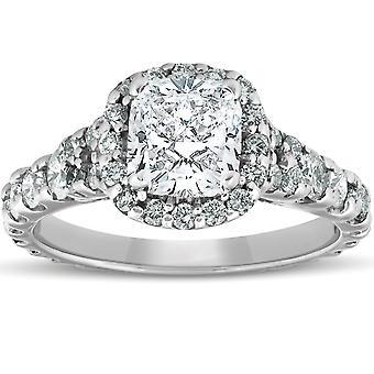 2 1/2 ct クッション ダイヤモンド ハロー婚約指輪 14 k ホワイトゴールド