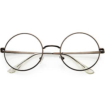 Classic Metal Round Eyeglasses Clear Lens 50mm