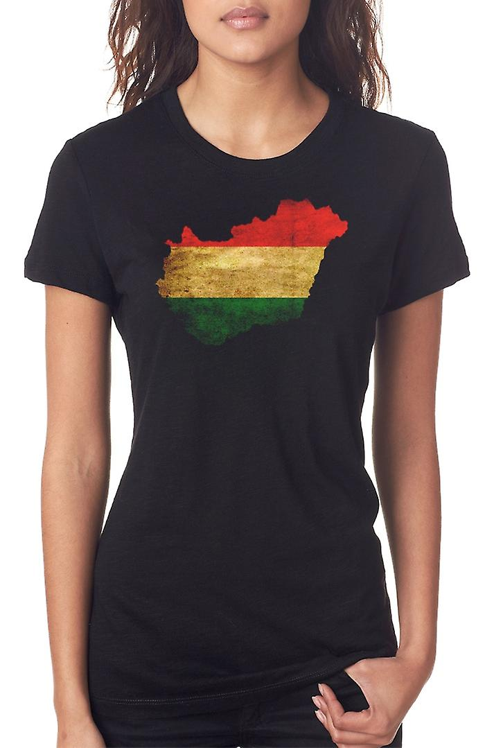 Hungría Húngaro bandera mapa las señoras T Shirt