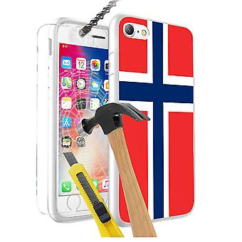 For Apple iPhone XS - Norway Flag Design Printed White Case Skin Cover with Tempered Glass - 0130 by i-Tronixs