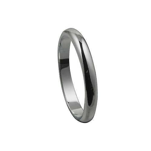 Platinum 3mm plain D shaped Wedding Ring Size X