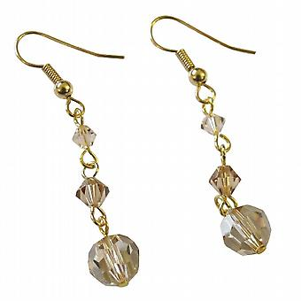 Fine Swarovski Golden Shadow Crystals Earrings For Bridesmaid