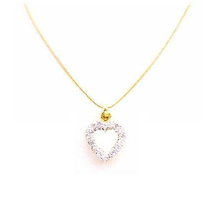 Affluent Jewelry Diamond Heart Pendant w/ Swiss Cubic Zircon Pendant