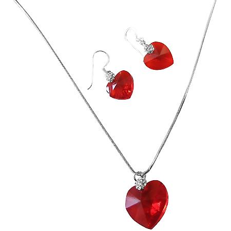 Lite Siam Red Crystals Xilion Heart Valentine Necklace & Earrings Set