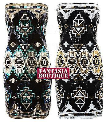 Ladies Boobtube Aztec Sequin Shiny Slim Fit Bodycon Party Short Dress