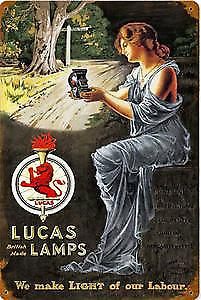 Lucas lamps rusted metal sign  (pst 1812)
