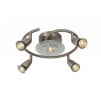 Lucide moderne Runde Metall Satin Chrom Bingo-LED Spot Deckenleuchte