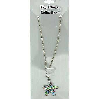 TOC Silvertone Coloured Rhinestone Star Fish Pendant Necklace 18