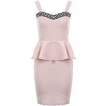 Ladies Strap Diamante Boobtube Peplum Frill Short Bodycon Women's Dress