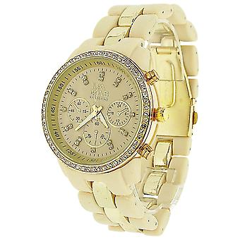 Mab London Ladies Stone Set bege dial bege & goldtone pulseira de borracha Watch