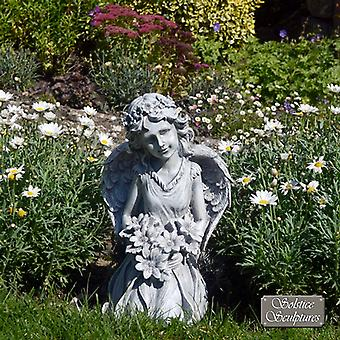 Kneeling Flower Angel Outdoor Garden Statue