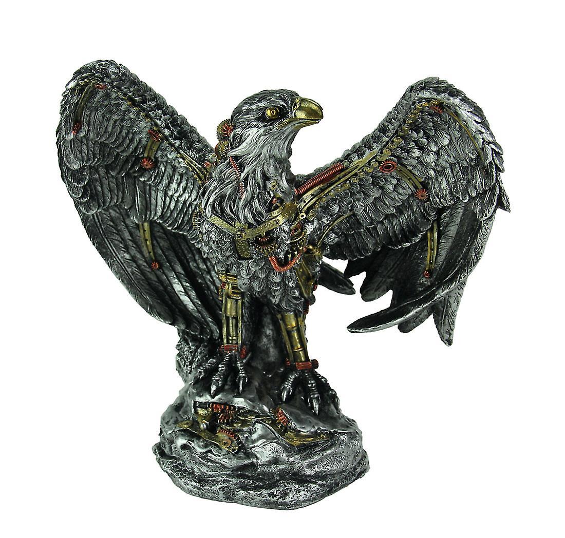 Statue d'aigle de Steampunk mécanique, finition argent métallisé