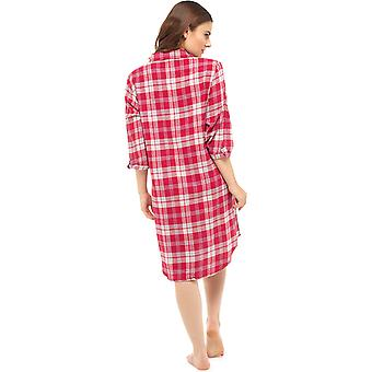 Foxbury Ladies Traditional Brushed Cotton Check Nightshirt