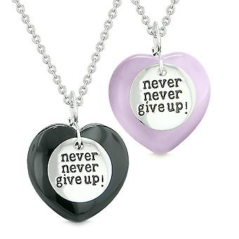 Amulets Never Give Up Love Couples or Best Friends Hearts Black Agate Purple Simulated Cats Eye Necklaces