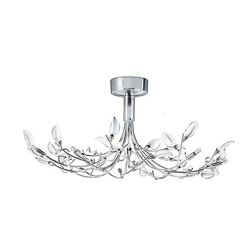 Searchlight 81510-10WH Wisteria 10 Arm Chrome Semi Flush Light With White Leaf Glass