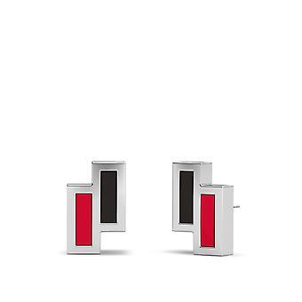 Chicago Blackhawks Asymmetric Enamel Stud Earrings In Black And Red