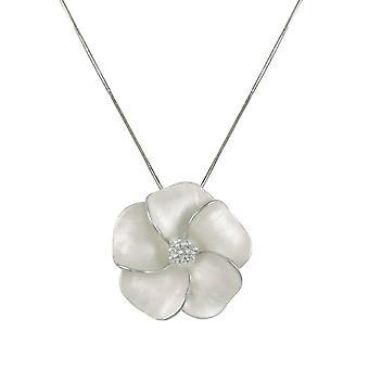 Éternelle Collection Pansy émail blanc fleur couleur argent pendentif