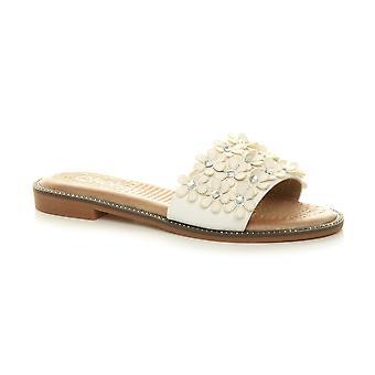 Sandali Ajvani womens flat low heel studded diamante summer flip flop