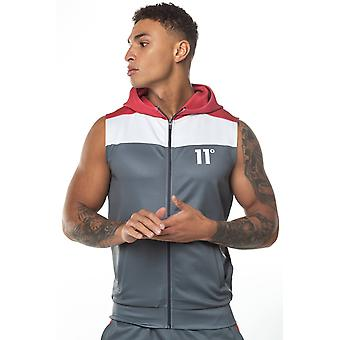 11 Degrees Colour Block Sleeveless Poly With Hood - Anthracite/White/Red