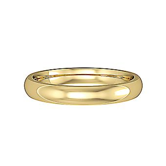 Jewelco London 9ct Yellow Gold - 3mm Essential Court-Shaped Band Commitment / Wedding Ring