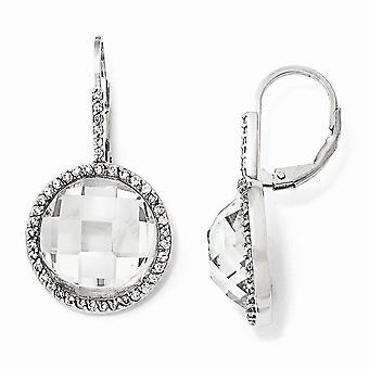 925 Sterling Silver Leverback Rhodium-plated Checkerboard-cut Cubic Zirconia Circle Dangle Earrings
