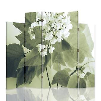 Decorative Room Divider, 5 Panels, Double-Sided, Canvas, White Flower2