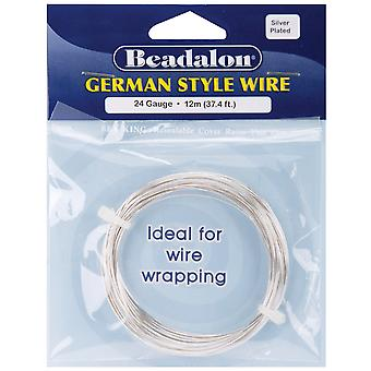 German Style Round Wire 24 Gauge 37.4 Feet Pkg Silver 180B 024