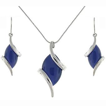 Silver Plated and Amethyst Stone Drop Earrings & Pendant Set
