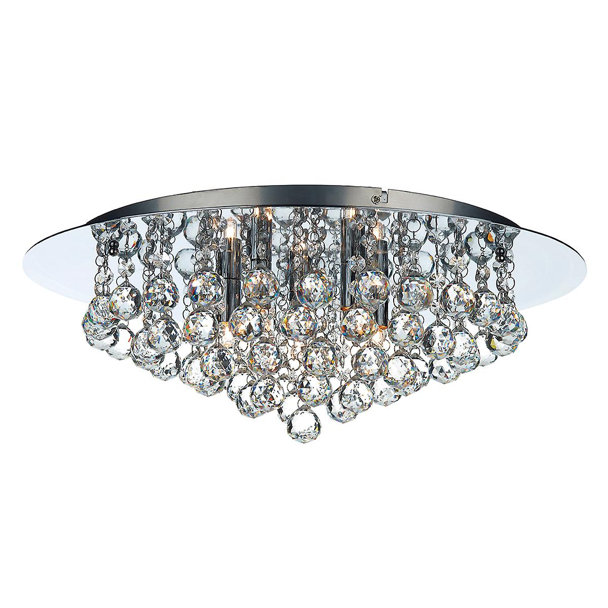 Dar PLU5450 Pluto 5 Light Flush Polished Chrome Ceiling Light With Crystal Glass