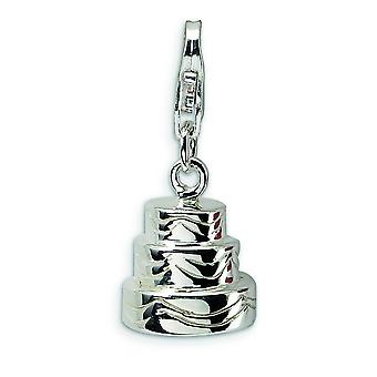 Sterling Silver 3-D Wedding Cake With Lobster Clasp Charm - 3.3 Grams - Measures 24x9mm