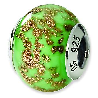 Sterling Silver Reflections Green Gold Italian Murano Bead Charm