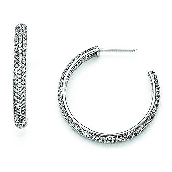 Sterling Silver and CZ Polished Hoop Earrings
