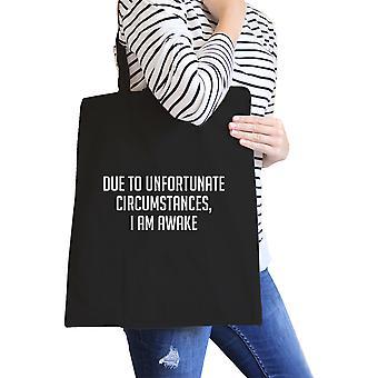 Im despierto lona negro bolsa cotización divertido cumpleaños regalo Ideas Eco bolsas