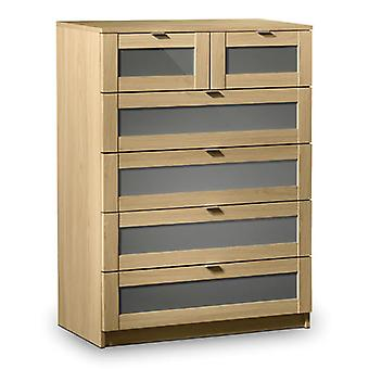 Prowder Light Oak 4+2 Drawer Bedroom Chest Fully Assembled Option
