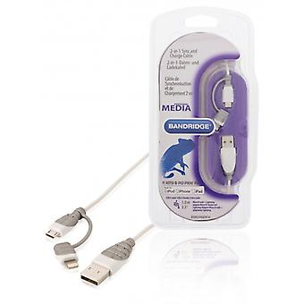 Bandridge 2-in-1-sync and charging cable USB 2.0 A male to Micro B male with connected Lightningadapter 1.00 m white