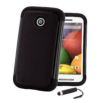 Shock proof case + stylus for Motorola Moto E2 (Moto E 2nd Gen, 2015) - Black