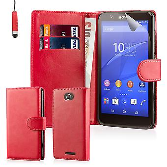 Book wallet PU leather case for Sony Xperia E4 (3G) + stylus - Red