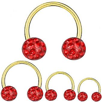 Circular Barbell Horseshoe Gold Plated Titanium 1,6 mm, Multi Crystal Ball Red | 8-16 mm
