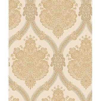 Damask Wallpaper Textured Modern Moselle Cream Beige Holden Decor