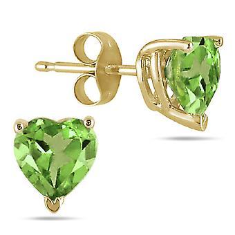 Natural 6mm Heart-Shape Peridot Stud Earrings, 14K Yellow Gold