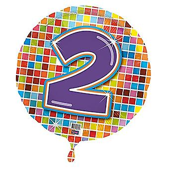 Foil balloon birthday number 2 disco helium balloon 43 cm balloon