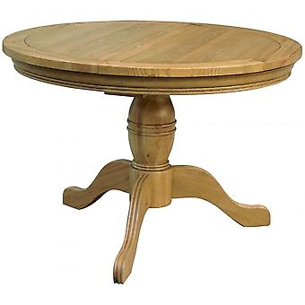 Classic Loire Oak Round Medium Sized Extending Table With Pedestal Base