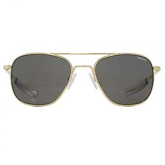 Randolph Engineering Square Aviator Sunglasses In 23K Gold Grey